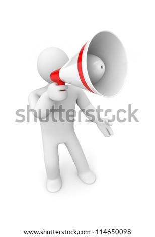Man speaks in megaphone - stock photo
