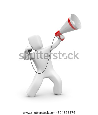 Man speaks in megaphone. 3d illustration