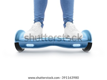 Man stand on blue hyro scooter isolated on white. Smart hover board scoter. Two wheel transport device. Electriic hyroscooter driver. Person hoverboard transportation. Driving giroscooter. Hyroscooter - stock photo