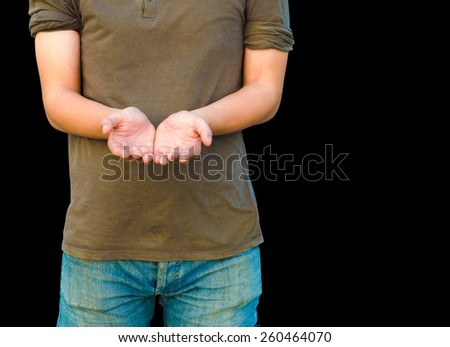 man stand open the palm of the hand on white background with path