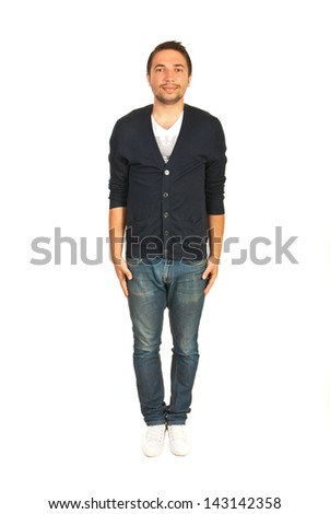 Man stand upright isolated on white background - stock photo