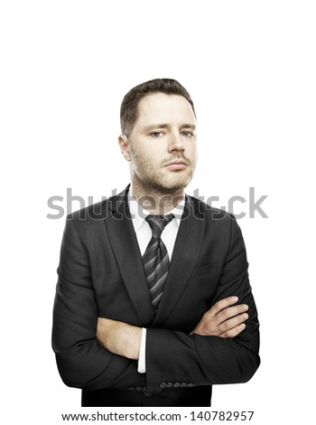 man standing and folded his hands on white background