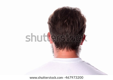 Man standing back in a white T-shirt. Close up.