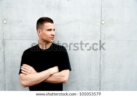 man standing near the wall