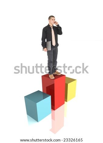 Man standing on first place - stock photo