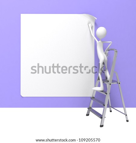 Man Standing on Ladder Fixes Banner on Wall. - stock photo