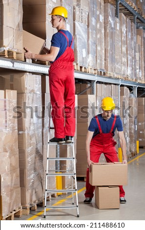 Man standing on ladder while working at height in warehouse - stock photo