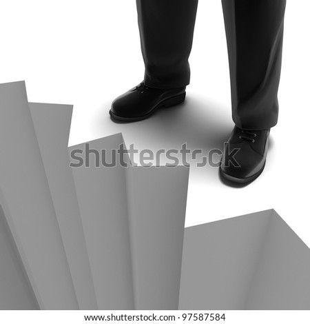 Man standing on the brink of a precipice - stock photo