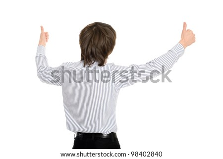 Man standing with his back raised their hands in admiration - stock photo