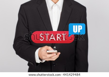 Man start his startup business. Investor accelerate start-up project concept. - stock photo