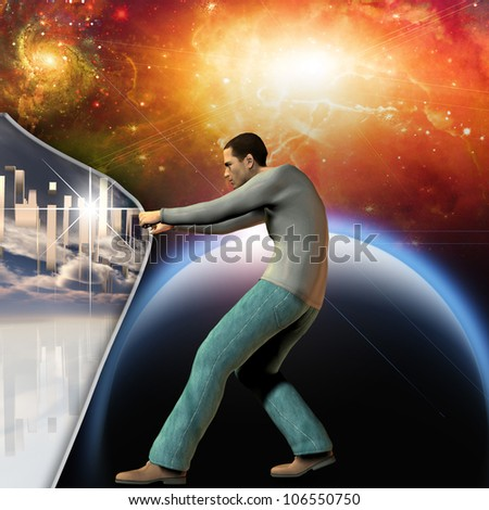 Man stretches space time to show power beneath - stock photo