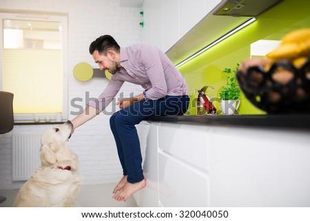 Man stroking his dog in kitchen - stock photo