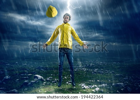 Man struck by lightning - stock photo