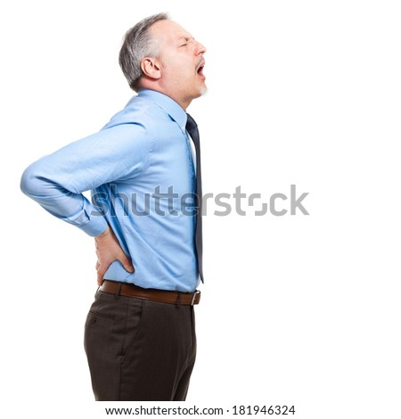 Man suffering for a backache. Isolated on white  - stock photo