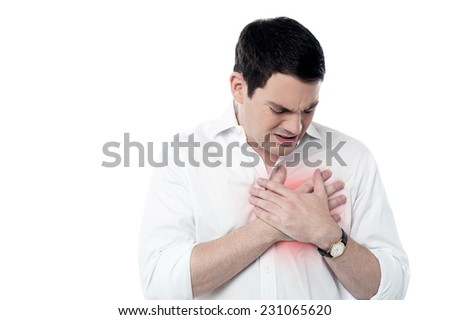 Man suffering from chest pain, heart attack. - stock photo