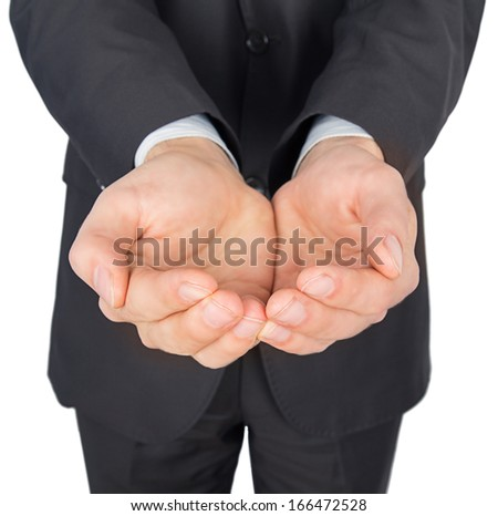 man suit hands give Isolated on white background - stock photo