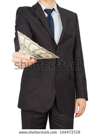 man suit money Isolated on white background