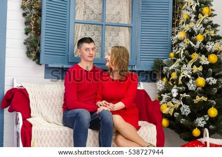 Man surprise woman for Chrismas