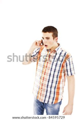 Man surprised on the phone on a white background