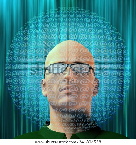 Man surrounded by email AT Symbols