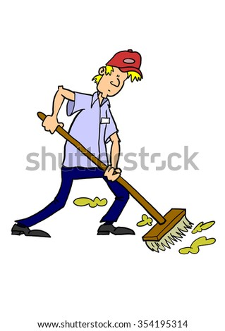Man sweeping with broom - stock photo