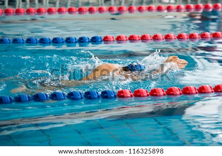 Man swimming during a competition