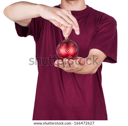 man T-shirt Christmas ball Isolated on white background