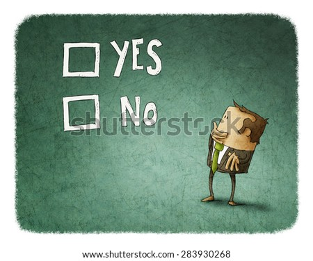 man take a decision between yes or no - stock photo