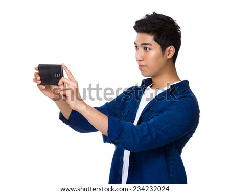 Man take photo with cellphone