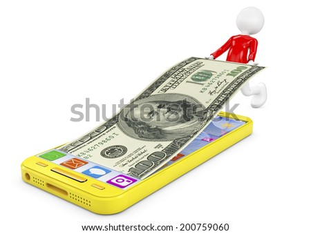 Man taking a bill inside a mobile phone. Image rendered in 3d