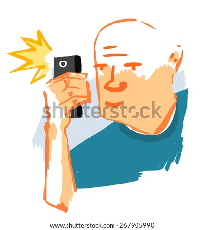 Man taking photograph with mobile phone - stock photo