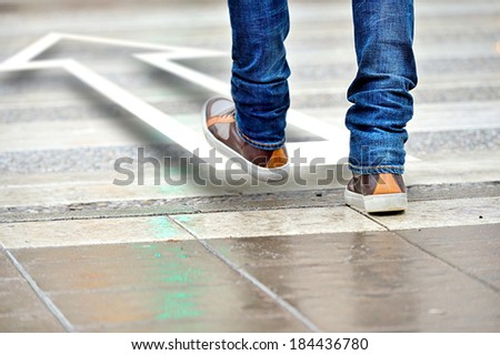 Man taking the step in the right direction - stock photo