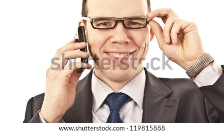 man talking on a mobile phone on isolated  background - stock photo