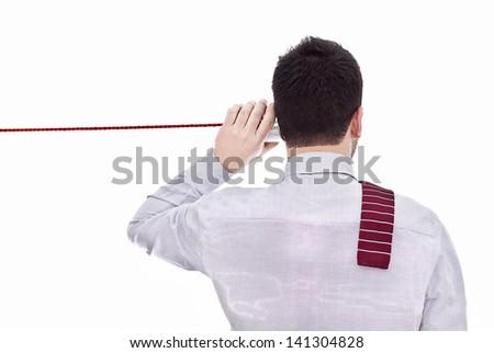 Man talking on a white background - stock photo
