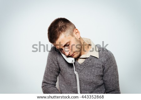 man talking on landline
