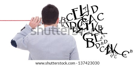man talking on the phone but does not listen - stock photo