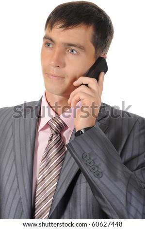 man talking on the phone. Isolated on white background - stock photo