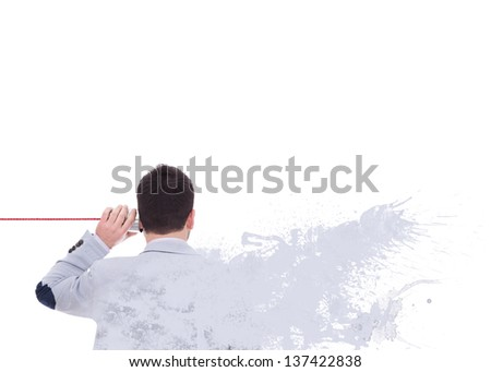 man talking on the phone without listening dress that defragments in color - stock photo