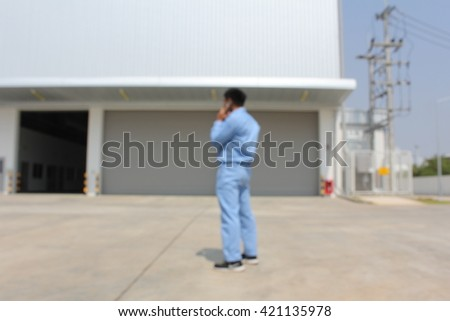 Man talking telephone restricted area.