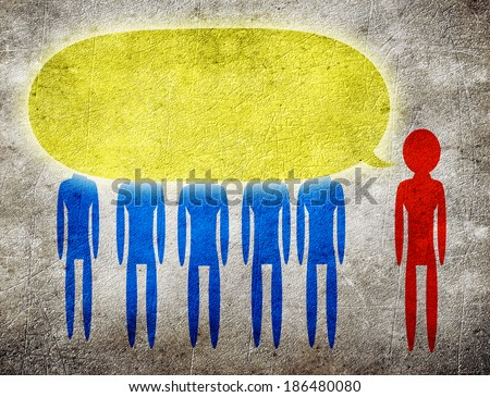 man talking to a group of people - stock photo