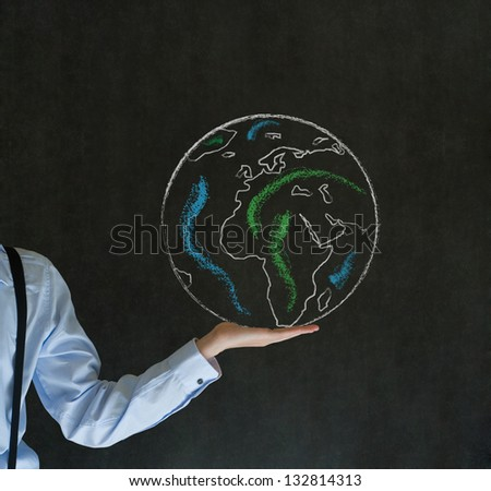 Man teacher, salesman, student or businessman with chalk world in the palm of your hand
