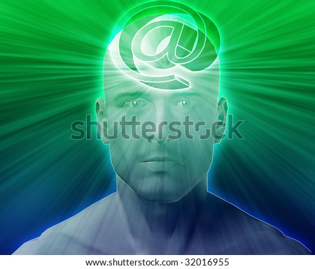 Man thinking about at internet symbol, floating on her head