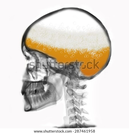 man thinking about beer - all the time - stock photo