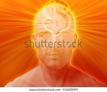 Man thinking about money dollars,floating over head