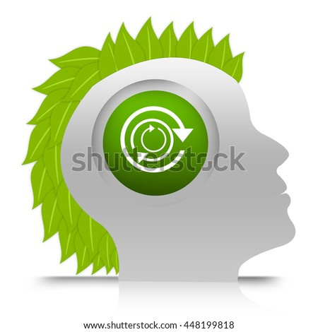 Man Thinking About Recycle Concept in Head infographic Isolated in White Background