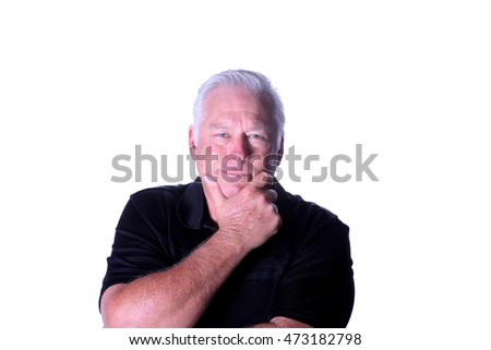 Man thinking. Isolated on white with room for your text.