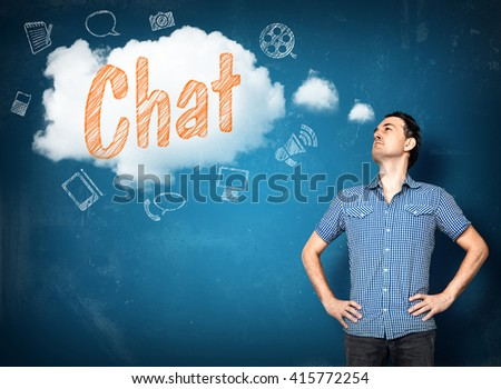 Man thinking of chat situations in a cloud - stock photo