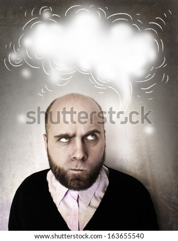 man thinking with a cloud of thought( clean background for writing dreams or ideas) - stock photo