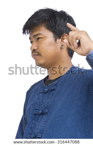 man thinking with a headache isolated over white - stock photo