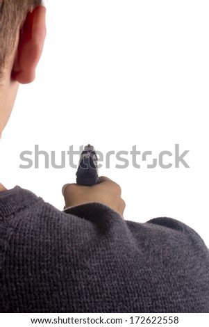 Man threatened with a gun. Control of Firearms. - stock photo